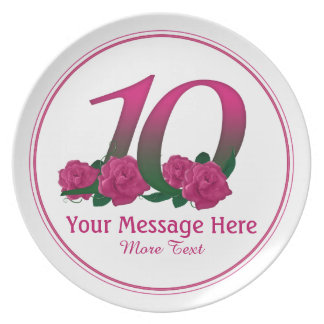 Personalized 10th customized text 10 flowers plate