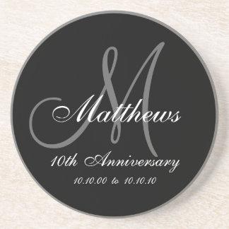 Personalized 10th Wedding Anniversary Coaster