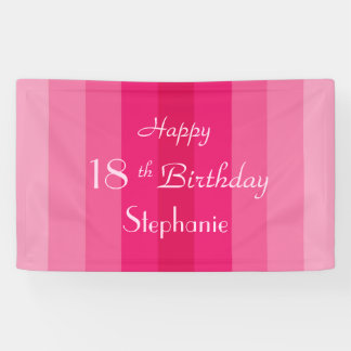 Personalized 16th 18th Birthday Sign Pink Stripe