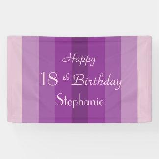 Personalized 16th 18th Birthday Sign Purple Stripe