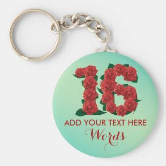 Personalized 16th birthday 16 anniversary Keychain