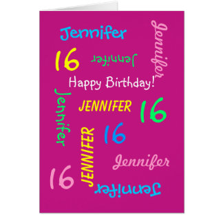 Personalized  16th Birthday Greeting Card Hot Pink