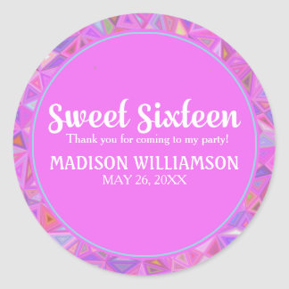 Personalized 16th Birthday Pink Thank You Classic Round Sticker