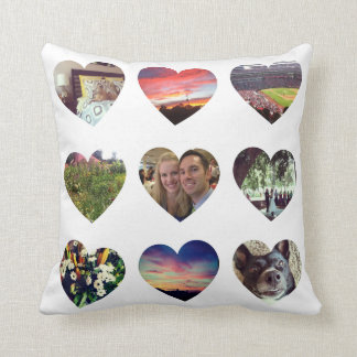 Personalized 18 Heart Shaped Photos Pillow