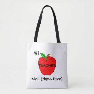 Personalized #1 Teacher Tote