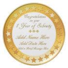 Personalized 1 Year Sobriety Display Plate