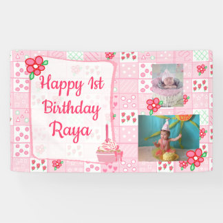 Personalized 1st Birthday Banner for Girl's Pink