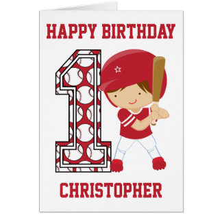 Personalized 1st Birthday Baseball Batter Red Card