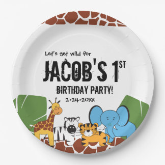 Personalized, 1st Birthday, Safari theme Paper Plate