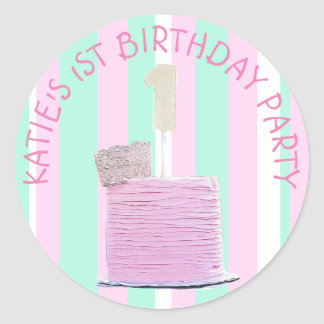 Personalized 1st Birthday Stickers for Baby Girl