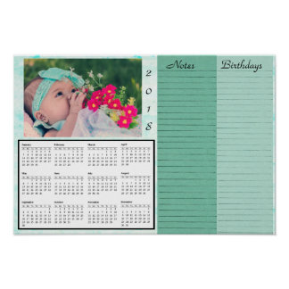 Personalized 2018 Calendar with Baby Photo Poster