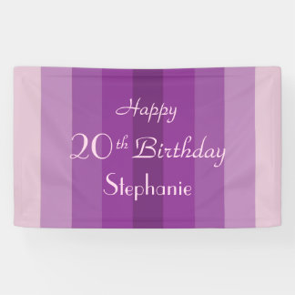 Personalized 20th 25th Birthday Sign Purple Stripe