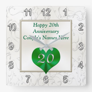 Personalized 20th Anniversary Gifts, 20th Birthday Square Wall Clock