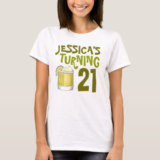 Personalized 21st Birthday Margarita Cocktail T-Shirt