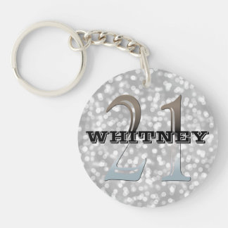 Personalized 21st Birthday | Silver Bokeh Name Double-Sided Round Acrylic Keychain