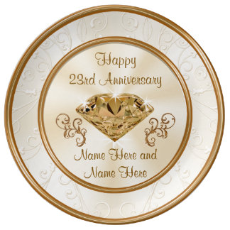 Personalized 23rd Anniversary Gift or Any YEAR Porcelain Plates