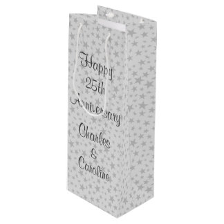 Personalized 25th Anniversary Silver Stars Wine Gift Bag