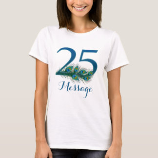 Personalized 25th Birthday add name text T-shirt