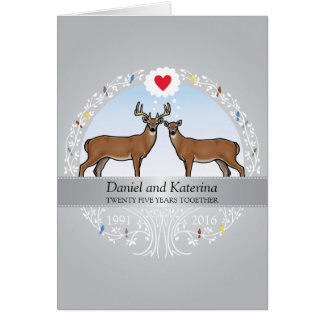 Personalized 25th Wedding Anniversary, Buck & Doe Card