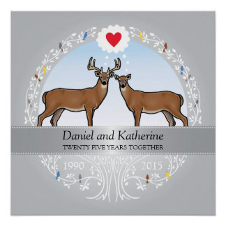 Personalized 25th Wedding Anniversary, Buck & Doe Perfect Poster