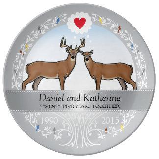 Personalized 25th Wedding Anniversary, Buck & Doe Plate