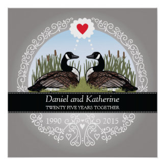 Personalized 25th Wedding Anniversary, Geese Perfect Poster