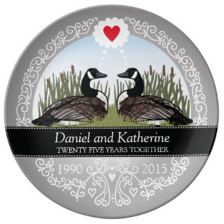 Personalized 25th Wedding Anniversary, Geese Plate