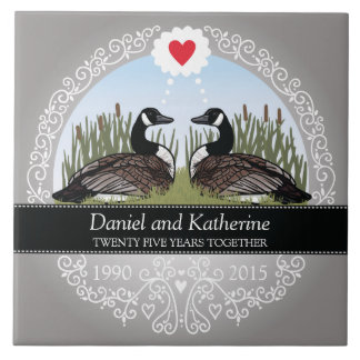 Personalized 25th Wedding Anniversary, Geese Tile