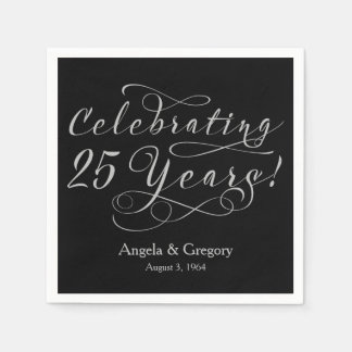 Personalized 25th Wedding Anniversary Silver Black Disposable Napkin