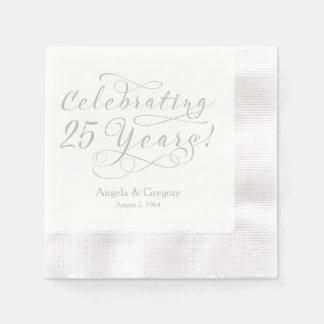 Personalized 25th Wedding Anniversary Silver White Paper Napkin