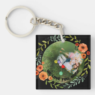 Personalized 2 Photos | Floral Mom Mother's Day Double-Sided Square Acrylic Keychain