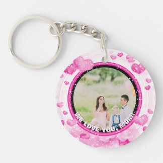 Personalized 2 Photos | For Mom Pink Hearts Keychain