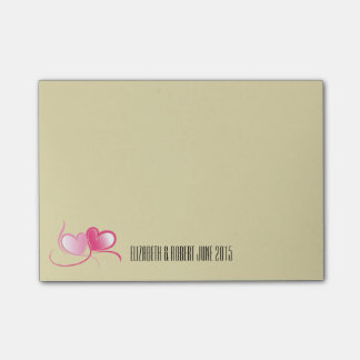 Personalized 2 Pink Hearts with Ribbons Post-it Notes