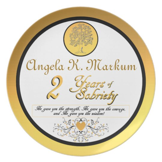 Personalized 2 Years of Sobriety Anniversary Plate