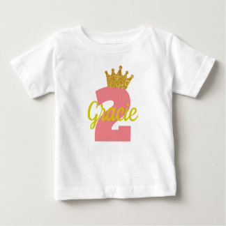 Personalized 2nd Birthday Crown Girl's Shirt