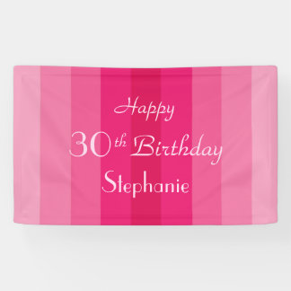 Personalized 30th 35th Birthday Sign Pink Stripe