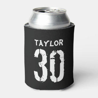 Personalized 30th Birthday Black White Can Cooler