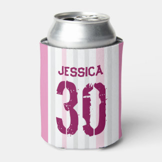Personalized 30th Birthday PINK Can Cooler