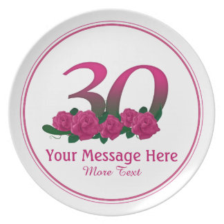 Personalized 30th customized text 30 flowers plate