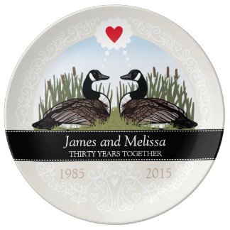 Personalized 30th Wedding Anniversary, Geese Porcelain Plates