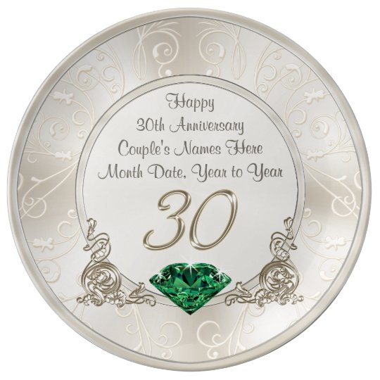 30 Wedding Anniversary Gift Ideas: Personalized 30th Wedding Anniversary Gift Ideas Plate