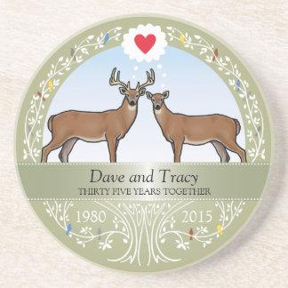 Personalized 35th Wedding Anniversary, Buck & Doe Beverage Coaster