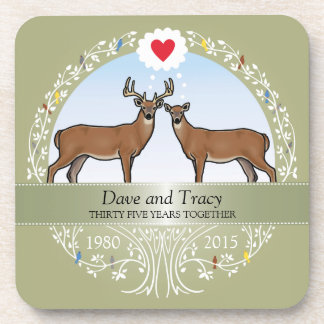 Personalized 35th Wedding Anniversary, Buck & Doe Beverage Coaster