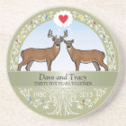 Personalized 35th Wedding Anniversary, Buck & Doe Coaster