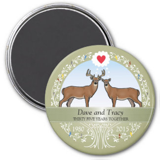 Personalized 35th Wedding Anniversary, Buck & Doe Magnet
