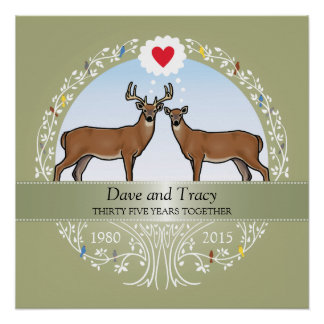 Personalized 35th Wedding Anniversary, Buck & Doe Perfect Poster