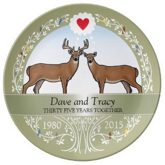 Personalized 35th Wedding Anniversary, Buck & Doe Plate