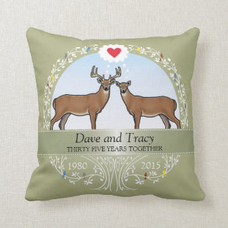 Personalized 35th Wedding Anniversary, Buck & Doe Throw Pillow