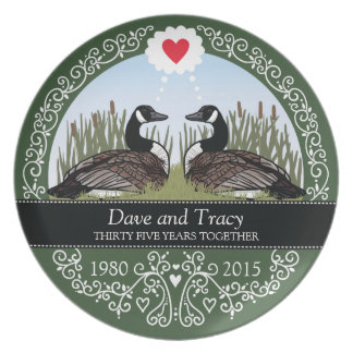 Personalized 35th Wedding Anniversary, Geese Party Plate