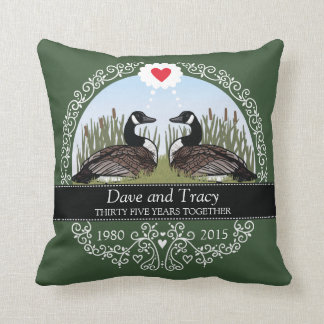 Personalized 35th Wedding Anniversary, Geese Throw Pillow